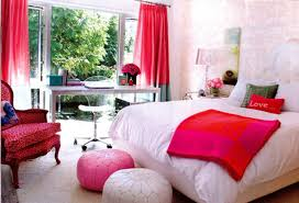 ... Stunning Teenage Girl Room Theme Decorating Interior Design Ideas Using  White Comforter Platform Bed And Pink Cushion Seat Also White Ottoman And  White ...