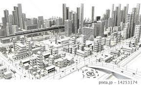 街 街並み ビル街 モノクロのイラスト素材 Pixta
