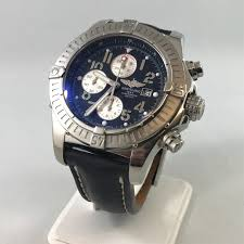 breitling automatic navy blue face watch with black leather band