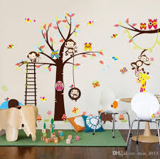 children wall decal nursery bedroom decor poster mural forest animals giraffe monkey owl tree pvc wall stickers for kids room tree decal for nursery wall