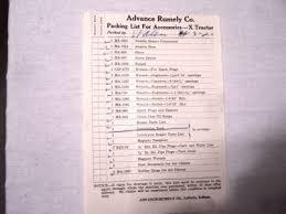 Rumely Oilpull Packing List For Model X Tractor Orig