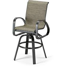 Primera Aluminum Outdoor Swivel Bar Stool With Sling Seating By
