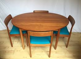 danish norgaards teak vintage mid century oval round extending dining table and four chairs