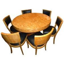 art deco round mid century dining table and chairs