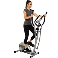 efitment pact magnetic elliptical machine trainer with lcd monitor and pulse rate grips e005