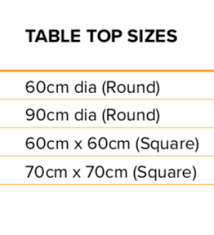 Ash Table Top Size Chart Tiger Furniture