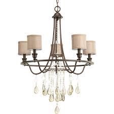 progress lighting flourish collection 5 light cognac chandelier with linen shade