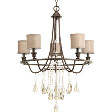 progress lighting flourish collection 5 light cognac chandelier with linen shade