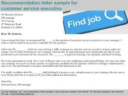 Customer Service Executive Recommendation Letter