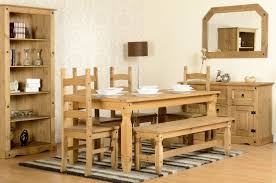 distressed waxed mexican pine rio dining set images gallery lrg corona ft dining set with bench images gallery lrg