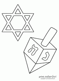 Small Picture Star of David and dreidel coloring page Print Color Fun