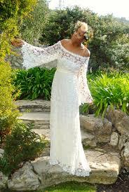 handmade bell sleeve crochet lace bohemian wedding dress off