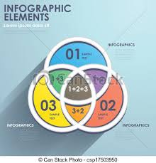 Flat Style Abstract Intersection Chart Infographics