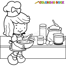 Small Picture Little Girl Cooking Coloring Page Stock Vector Image 54812367