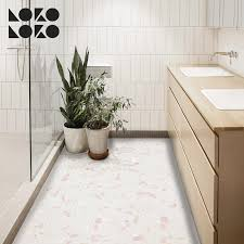vinyl for bathroom floor decoration with light pink terrazzo textures