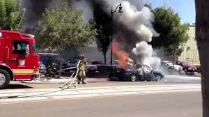 fire department puts out car fire in downtown visalia ca 08 13 13 you