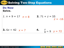 1 11 1 solving two step equations
