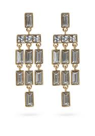 vince camuto gold tone gem drops statement chandelier earrings gold uni jewelry fashion