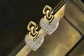 bulgari doppio cuore diamond and gold ear pendants