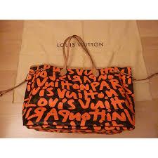 louis vuitton graffiti. louis vuitton ping bag neverfull g m graffiti orange leather