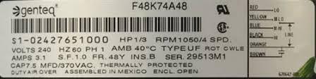 part 02427651000 blower motor 1 3 950 4 cw 230 1 60 f48k74a48
