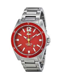 lacoste men s and women s watches 149 99 for lacoste men s watch silver band red dial and face 2010637 245 list price