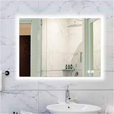 Amazon Com Rogsfn 24x32 Inch Led Backlit Bathroom Mirror Lighted Frameless Wall Mounted Mirror Dimmable Anti Fog Makeup Vanity Mirror With Lights Horizontal Vertical Kitchen Dining