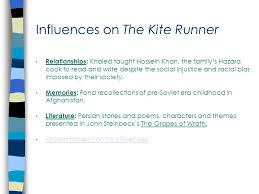 "the kite runner by khaled hosseini "" there is a way to be good  influences on the kite runner relationships khaled taught hossein khan the family s hazara cook"