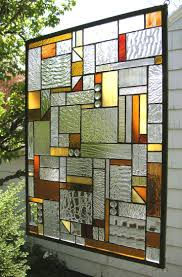 Stained Glass Window Panel--Mission Style Geo Warm Tones- 18
