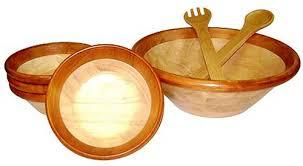 mountain woods 7 piece cherry rim wood serving bowls utensils set
