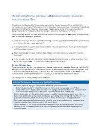 Short Term Incentive Plan Design Should Companies Use Individual Performance Measures In