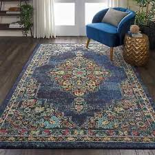 passionate navy blue medallion rug 6 7