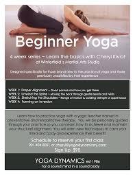 beginner yoga flyer for