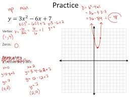 2 practice vertex zeros points where it crosses the y axis
