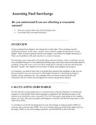 Doe Fuel Surcharge Chart Matrix Assessing Fuel Surcharge