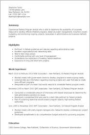 Resume Templates: Federal Program Analyst