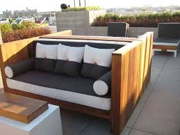 ... Light Brown And Black Square Modern Wooden Patio Furniture For Small  Spaces Stained Design ...