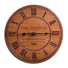 memorial cherry wood engraved wall clock