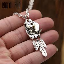 genuine 925 sterling silver vintage punk thai silver feather eagle pendant for women men necklace jewelry