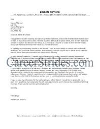 Letter Format For Job Application Of A Teacher Cover Example
