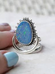 large natural blue opal moon ring opal sterling silver ring boho rings crescent rings silver rings designer ring high fashion ring