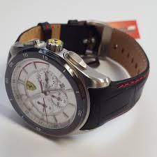 amazing deals on designer ferrari watches uk delivery mens sporty gran premio chronograph white face leather watch by ferrari 830186