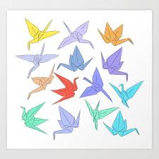 Japanese Origami Paper Cranes Symbol Of Happiness Luck And