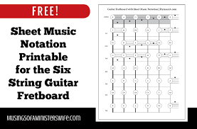 read sheet music free sheet music notation printable for the six string guitar fretboard