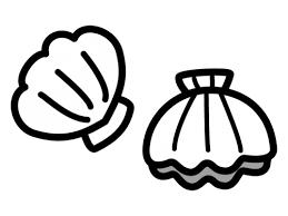 ホタテ貝の白黒イラスト かわいい無料の白黒イラスト モノぽっと