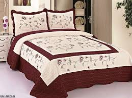 Amazon.com: 3pc Beige / Burgundy High Quality Fully Quilted ... & Amazon.com: 3pc Beige / Burgundy High Quality Fully Quilted Embroidery  Bedspread Bed Coverlets Cover Set , Queen King: Home & Kitchen Adamdwight.com