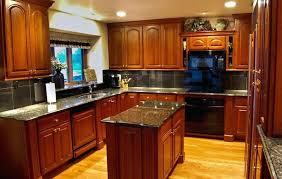 kitchen backsplash cherry cabinets black counter. Grey Backsplash With Cherry Cabinets Glass Subway Tile And Black Countertops . Kitchen Counter