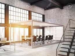 open office design concepts. Aquarium Board Room In Open Office With Stairs. Concept Of Contemporary Workplace. 3d Rendering Design Concepts
