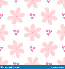 Girly Designs Repetitive Flowers And Small Hearts Cute Girly Seamless