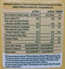 bebida de avena nutrition facts